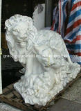 Sculpture de marbre blanche naturelle en lion (GS-A-023)