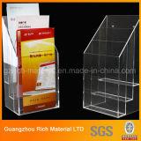 Support acrylique de brochure/présentoir acrylique en plastique d'étagère/plexiglass
