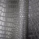 Couro de sapata artificial do plutônio do teste padrão preto da pele do crocodilo da cor