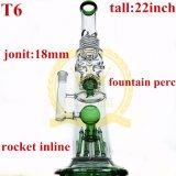 Großhandels22inch 60diameter 7thickness doppelter Inline-Recycler-Stereomatrix-Filtrierapparat-rauchendes Wasser-Glasrohr