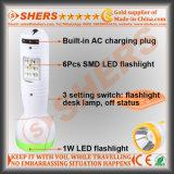 Nachladbare 1W LED Taschenlampe mit 6 LED-Schreibtisch-Lampe (SH-1917)