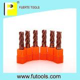 Cortador de acero de las flautas sólidas del carburo 4 con la capa de Tisin