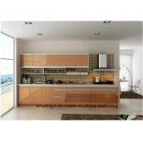 Gabinete de cozinha pequeno acabado moderno e simples de alto brilho