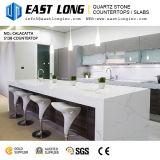 Partie supérieure du comptoir blanche de pierre de quartz veinée par marbre de bonne qualité