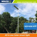 Newskypower MPPT Bluetooth integrada de la lámpara de calle de energía solar LED de iluminación del jardín