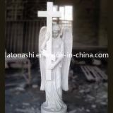 OEM White Marble Stone Carved Figure Sculpture Statue con Cross