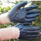 Голубая фабрика перчатки промышленной работы безопасности перчаток нитрила