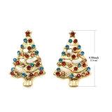 Orecchini di cristallo della vite prigioniera della lega di pezzo fuso degli alberi di Natale in oro di placcatura
