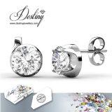 Het Kristal van de Juwelen van het lot van Swarovski 925 Oorringen van de Nagel van de Strook Eenvoudige
