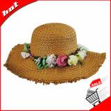 Plastic Flower Ladies Wholesale Chapéus de palha Chapéu elegante de Flota Flota