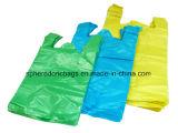 Sac à provisions en plastique plat de T-shirt de HDPE