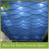 Blauer kundenspezifischer wellenartig bewogener Leitblech-Decken-Aluminiumentwurf für Hotel
