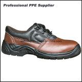 Zapatos de seguridad impermeables del cuero liso escotado de la acción