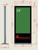 直角と立つプレーヤーの床デジタル表記を広告する65インチLCD