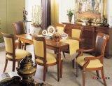Jantando a tabela de jantar do jogo e a mobília de madeira da cadeira
