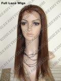 Pelucas llenas brasileñas del cordón del pelo humano de la Virgen del 100%