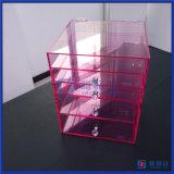 최신 판매 호화스러운 분홍색 아크릴 메이크업 조직자 5 서랍