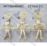 De Gift van de Decoratie van Kerstmis van de Amerikaanse elanden van de Sneeuwman van de Kerstman van de schommeling met Hout teken-3asst