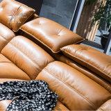 Il sofà moderno del cuoio del salone ha impostato con la memorizzazione dello spazio (8233)