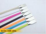Câble de remplissage de 2in1 USB de caractéristiques micro plates de synchro pour l'iPhone de Samsung Apple