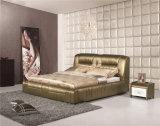 Mobília macia de couro do quarto da base da alta qualidade