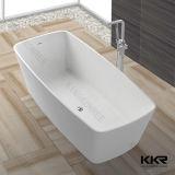 Baignoire ronde autonome de salle de bains de pierre en gros de marbre