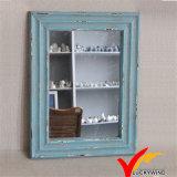 Pequeños espejos de madera enmarcados decorativos azules elegantes lamentables de la pared