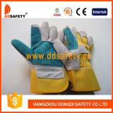 Guanti Dlc324 di sicurezza di rinforzo cuoio blu spaccato grigio della parte posteriore di cotone di colore giallo del guanto della mucca