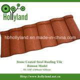 Strato ondulato del tetto con la pietra ricoperta (mattonelle romane)