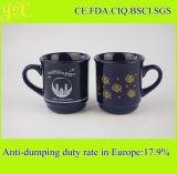 Heiße verkaufenfarbe glasig-glänzende Steingut-Kaffeetasse mit Abnehmer-Abziehbild