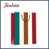 Bolsa de papel ancha vertical laminada brillante del regalo de las rayas del papel de arte