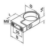 유리제 방책, 손잡이지주 및 Baluster를 위한 죔쇠 반지
