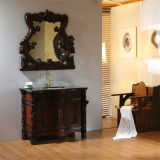 旧式な様式の床のミラーとの永続的な木製の浴室の虚栄心