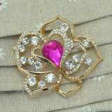 VAGULA Gold überzogene Rose Blumen-Kristall-Brosche