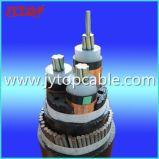 câble blindé isolé par XLPE en aluminium de fil d'acier du conducteur 15kv