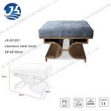 """濃紺はHightの伸縮性のステンレス鋼フレーム31 """" W X 29 """" D X 30 """" Hが付いている海綿状のクッションの椅子を縞で飾る"""