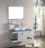 Weißer grauer Edelstahl-keramischer Bassin-Badezimmer-Eitelkeits-Schrank