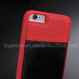 プラスiPhone 6のためのブラウンの本革の箱との赤