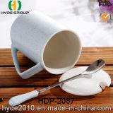 De eenvoudige Mok van de Koffie van het Porselein van Giften met Deksel en Lepel (hdp-2087)