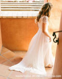 Schutzkappe Sleeves Beach Bridal Gowns A - Zeile Chiffon- Wedding Dresses Z8049