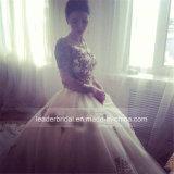 Alineada de boda verdadera de lujo árabe nupcial del vestido de bola del cordón del oro G1712
