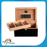 2 strati del contenitore impaccante verniciato nero puro del cedro spagnolo di sigaro di legno su ordinazione del Humidor