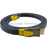 Application multimédia et câble plat du connecteur plaqué par or HDMI