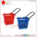 Panier à provisions en plastique de roulement de supermarché avec la poignée simple (OW-BR009)
