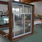 Guichet de glissement en aluminium de profil d'interruption thermique de qualité avec le blocage multi et le bâti en bois réel K01051