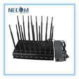 CDMA, GSM, DCS, emittente di disturbo del segnale del telefono delle cellule del segnale 3G, emittente di disturbo del cellulare + stampo di GPS + emittente di disturbo di WiFi con le fasce del ventilatore 16