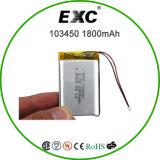 103450 bateria recarregável Lipo 3.7V 1800mAh