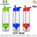 bottiglia di acqua di infusione della frutta di BPA personalizzata 650ml liberamente Tritan, bottiglia di plastica di Zinger dell'agrume della frutta (HDP-0848)