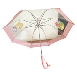 Cartoon PrintingのまっすぐなAuto Open Transparent Umbrella