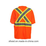 T-shirt r3fléchissant de maille de vêtements de travail de sûreté élevée de visibilité de la classe 2